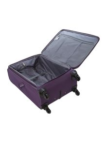 Hyperlite purple 4 wheel soft medium suitcase