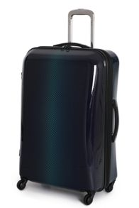 Green and blue 4 wheel hard large suitcase