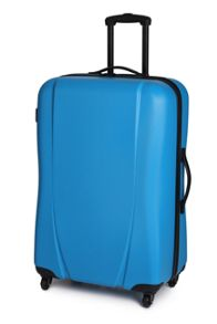 Royal blue 4 wheel hard large suitcase