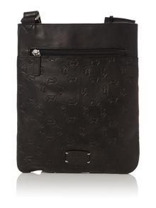 Abbey road black medium ziptop xbody leather bag