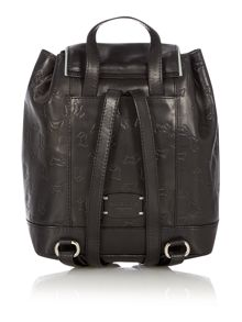 Abbey road black small flapover leather backpack