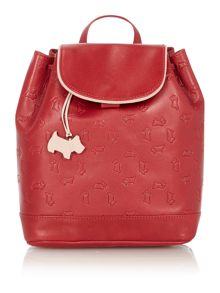 Abbey road red small flapover leather backpack