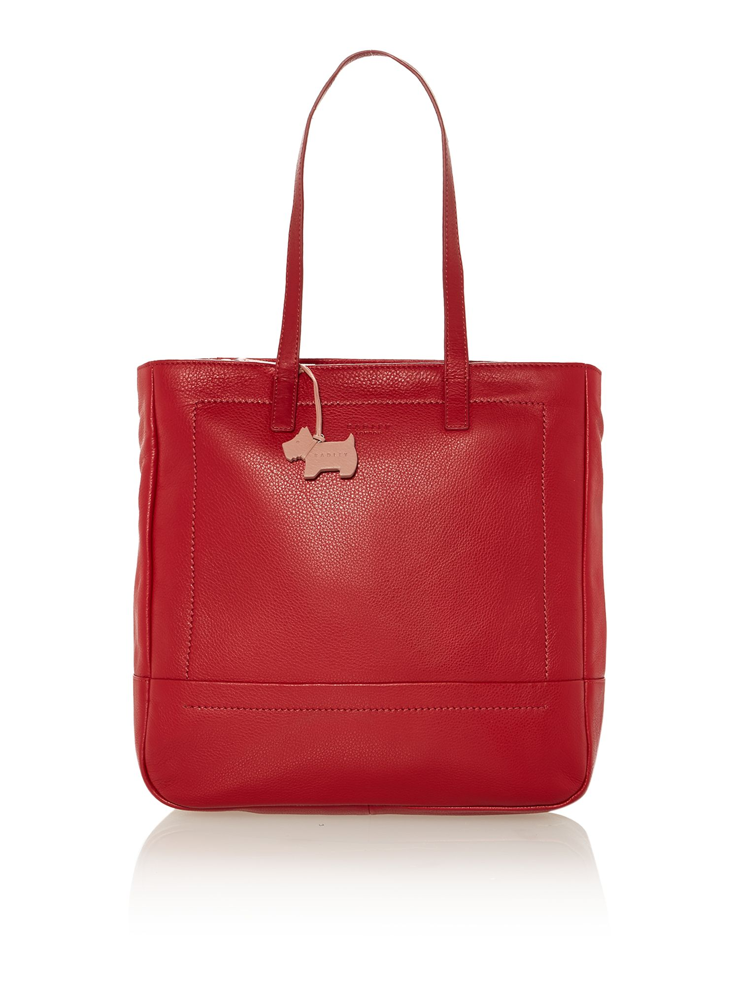Finsbury large red ziptop ns tote leather bag