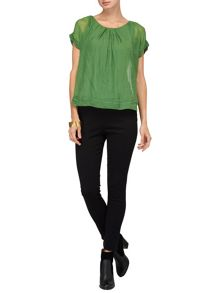 Olive silk top
