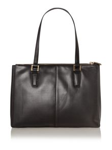 Greenwich black large double zip tote bag