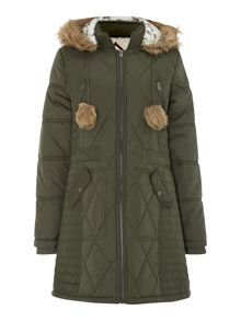 Longline Puffer with fur trim hood Outerwear