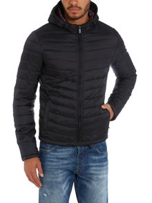 Quilted nylon hooded jacket
