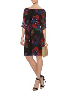 Botanical floral print tie front dress