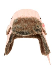 Girls faux fur lined trapper hat