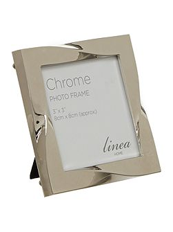 Chrome Plated Twist Design Photo Frame 3x3