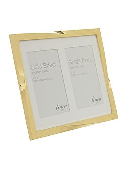 Gold Effect Twist Double Aperture Photo Frame