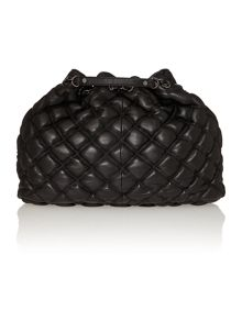 Gensevoort black quilted drawstring tote bag