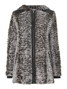 Long sleeve faux fur hood jacket