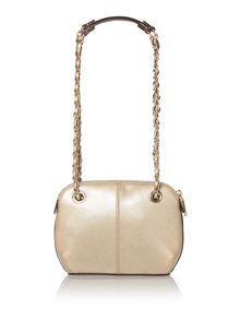 Saffiano gold small rounded cross body bag
