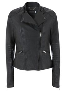 Graphite Stitch Leather Biker Jacket