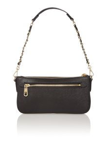 Saffiano black small cross body with chain handle
