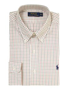 button down check slim fit shirt