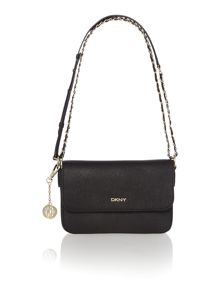 Saffiano black small flap over cross body bag
