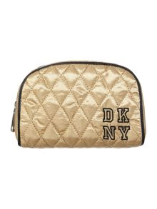 Gold medium quilted cosmetic bag