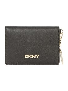 Saffiano black card holder with key ring
