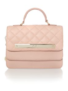 Gansevoort light pink quilted flap over crossbody