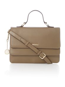 Greenwich tan flap over top handle cross body