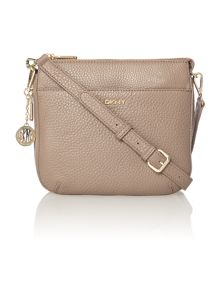 Tribeca tan double zip rounded cross body bag