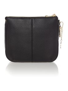 Tribeca black double zip rounded cross body bag