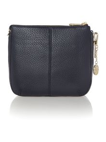 Tribeca navy double zip rounded cross body bag
