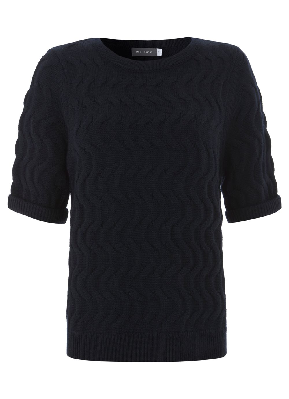 Navy Cable Stitch Knit