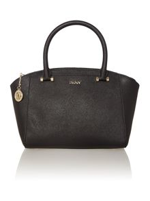Saffiano black small satchel