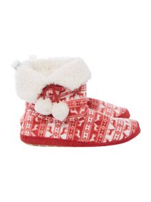 Therapy Fairisle printed fleece booties