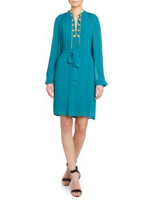 Longsleeve lace-up raglan dress