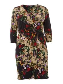 Butterfly floral wrap dress