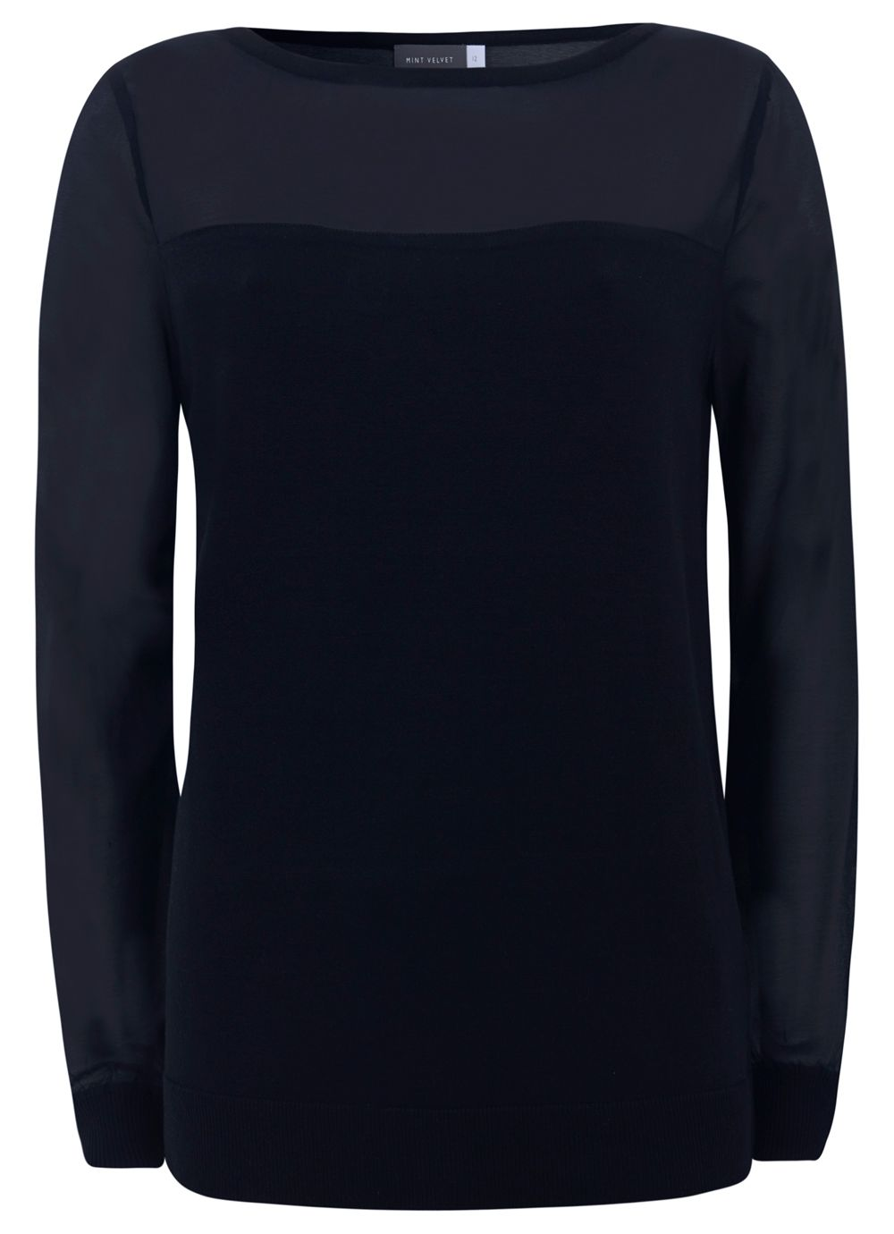 Navy Sheer Sleeve Knit