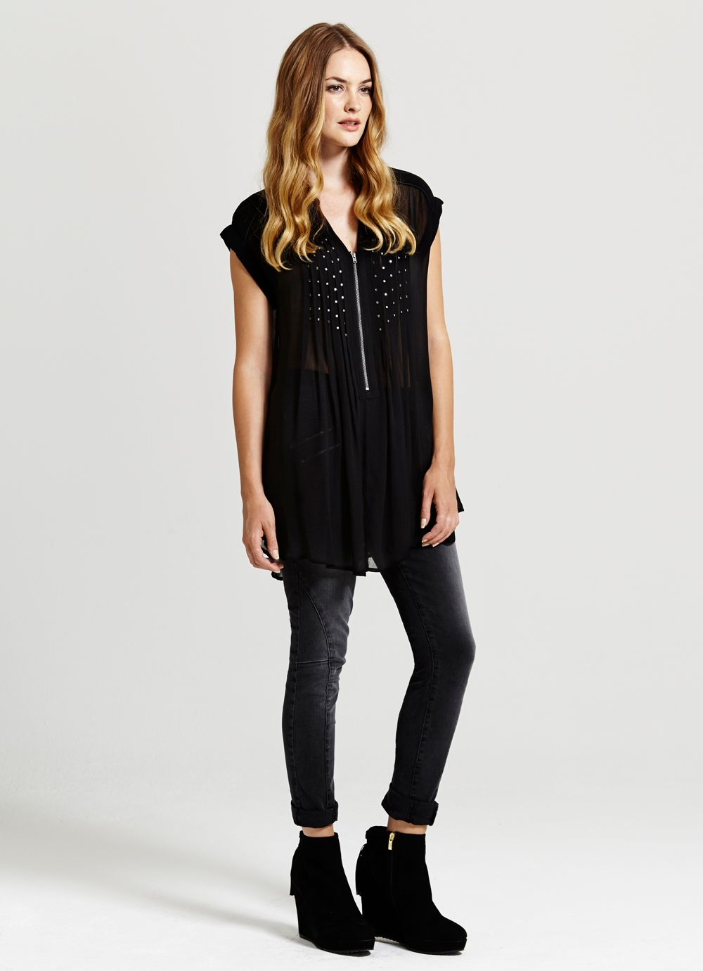 Black Square Bead Pintuck Tunic