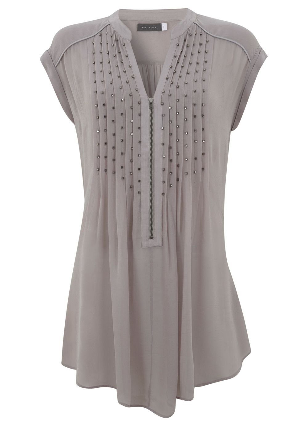 Lilac Square Bead Pintuck Tunic