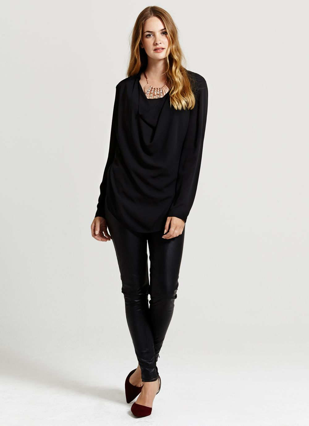 Black Cowl Front Blouse