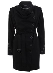 Black Cowl Neck Trench Coat