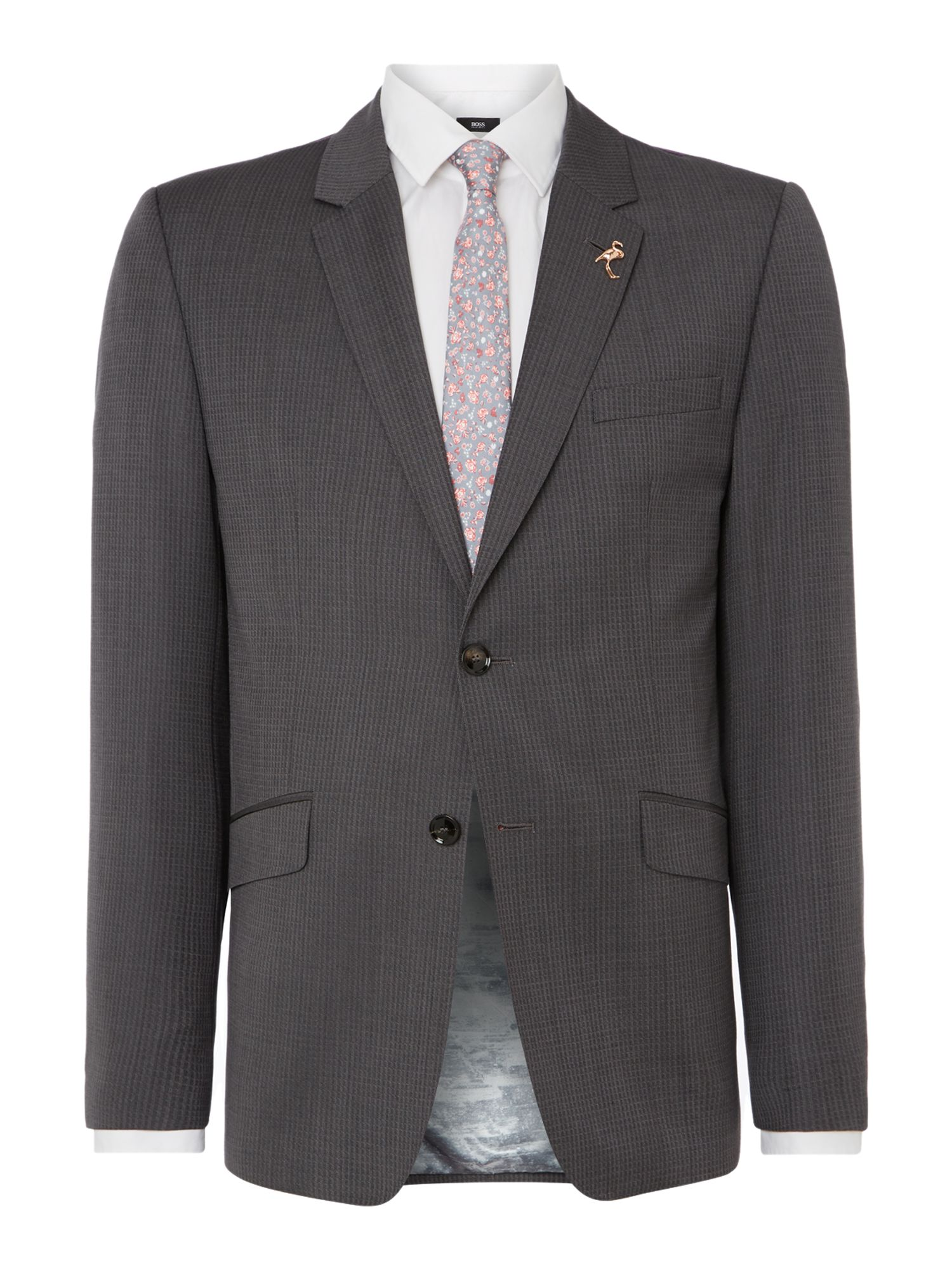 Men's Ted Baker Mitten Textured Grid Slim Fit Suit Jacket, Grey