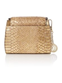 Fashion printed python bronze mini cross body bag