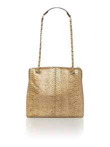 Fashion printed python bronze large crossbody