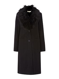 Wool tailored coat with faux fur collar