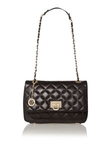 Gansevoort black quilted flap over shoulder bag