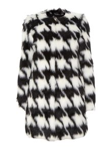 Michael Kors Faux fur houndstooth coat