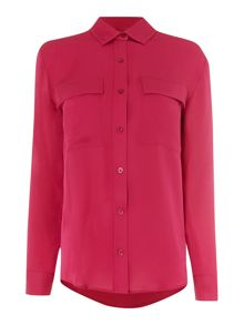 Michael Kors Long sleeve patch pocket silk blouse