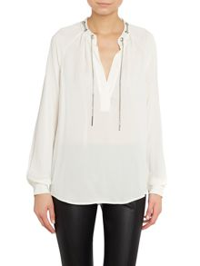 Long sleeve chain silk blouse