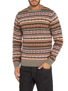 Lambswool striped fairisle crew