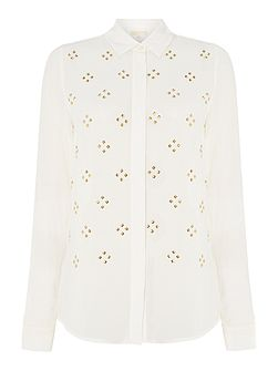 Embellished long sleeve button down blouse
