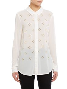 Michael Kors Embellished long sleeve button down blouse